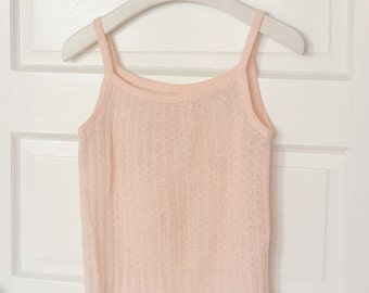 Vintage Pastel Pink Knitted Top, Size Small