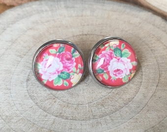 Earrings, glass cabochons! FLOWERS AND COLORS!