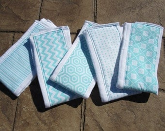 Baby Burp Cloths, Set of 5 Teal Blue and White Prints