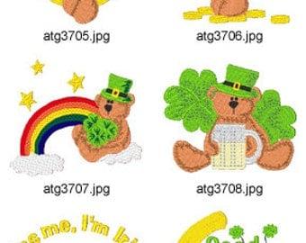 St Patrick Bears ( 9 Machine Embroidery Designs from ATW ) XYZ17C
