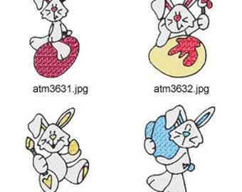 Bunnies-and-Eggs. ( 7 Machine Embroidery Designs from ATW ) XYZ17C
