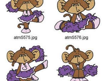 Cheerleader-Monkeys ( 7 Machine Embroidery Designs from ATW ) XYZ17D
