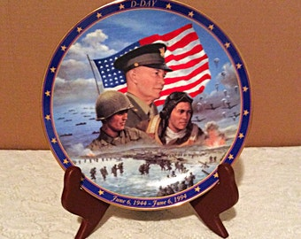 D Day commemorative plate by Jim Griffin, War World II plate collection, Bradford Exchange military memorabilia plate, A remembrance plate