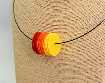Handmade choker necklace made of circles red orange yellow color