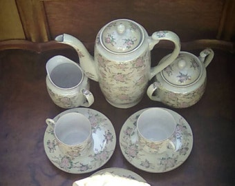 Vintage Japanese Porcelain Floral Coffee Set Made in Japan Circa 1930's