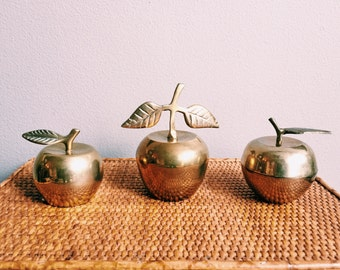 Vintage Brass Apple Bell / Apple Trinket Dish / Paperweight