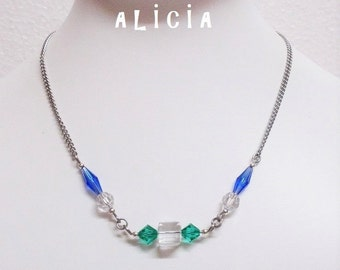 Cube crystal necklace swarovski blue and green with surgical steel chain cube jewelry