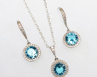 Handmade Micro Pave Aquamarine Cubic Zirconia CZ Dangle Bridal Earrings & Necklace Set, Bridal, Wedding (Sparkle-2256)