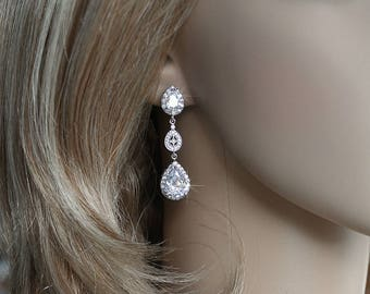 Handmade Sparkling Cubic Zirconia CZ Multi-Drop Dangle Bridal Earrings, Bridal, Wedding (Sparkle-2278)