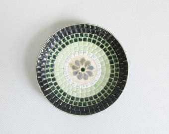 vintage mosaic plate / mid century tile dish / small green decorative plate