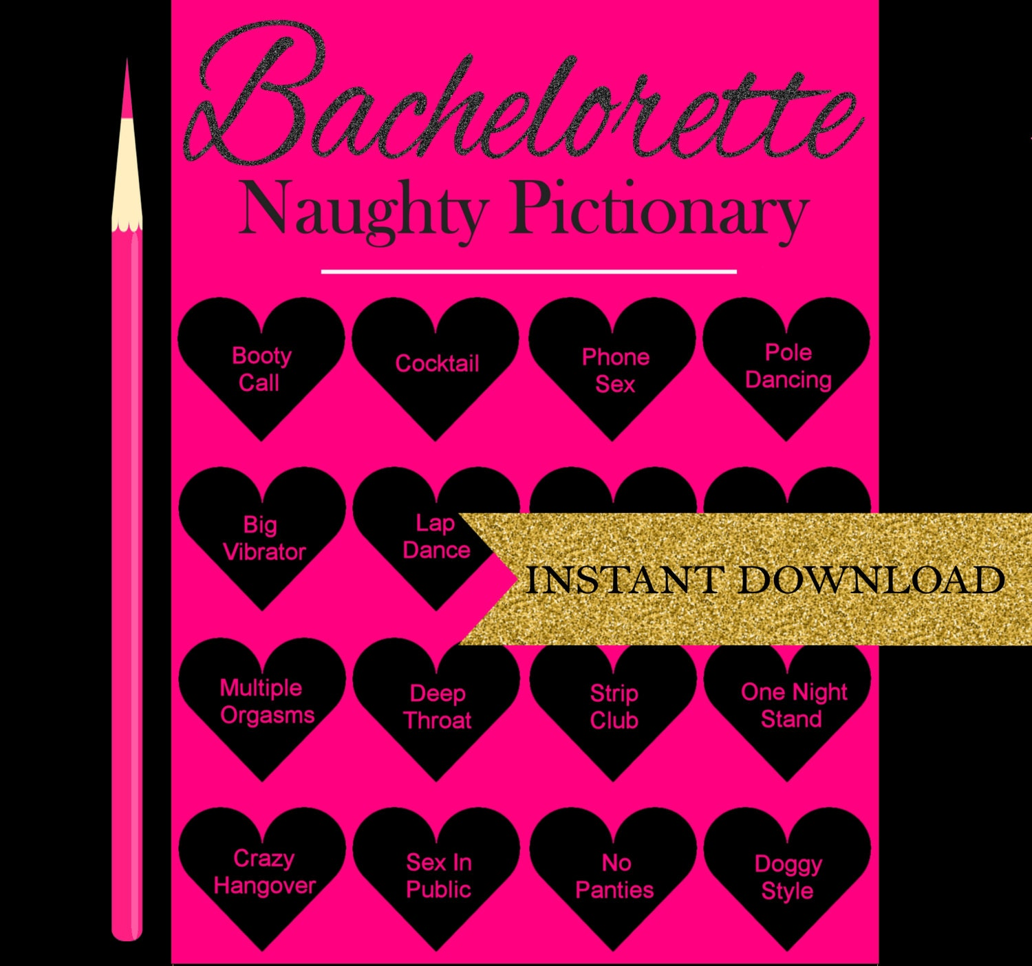 Dirty Pictionary Bachelorette Party Games Printable Hen