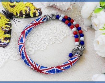 British statement necklace England woman necklace UK beaded necklace Great Britain necklace Blue and White necklace Christmas gift for mom