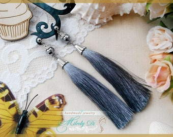 Tassel grey earrings Silk tribal jewelry Luxury earrings for bride Gift for girlfriend jewelry Long grey earrings for girl Boho jewelry