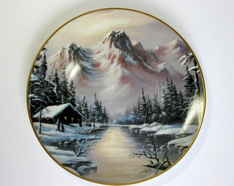 Franklin Mint Collectors Plate / Peaceful Solitude / Limited Edition / Heirloom Recommendation / Landscape Series / 1992 / Artist Ron Huff