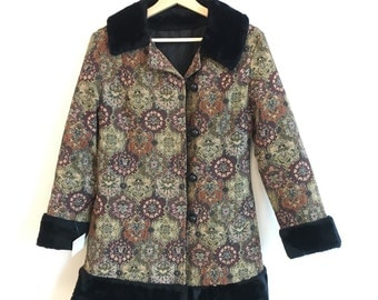 1960's tapestry Coat with Fur Sleeves and Collar