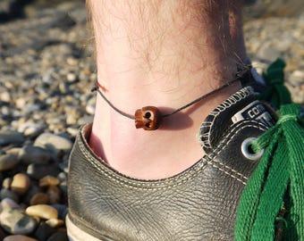 Mens Beach Anklet, Skull, beach, mens jewelry, surf, tribal, surfer, gift for him, unisex, adjustable, black cord
