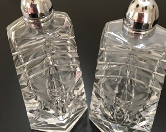 Cut Crystal Salt and Pepper Shakers, Diamond Shaped Salt and Pepper Shakers, Clear Crystal Salt and Pepper Shakers