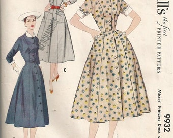 1950s Princess Seam Dress Pattern McCalls 9932 Bust 30 Fit and Flared Day Dress or Duster with Front Buttons