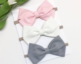 Baby Bow Headband - Pink, White, Gray - Baby Bow - Clips or headbands
