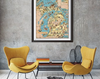 Vintage Michigan Map from 1935, old Michigan map Print, old USA map Print Art Poster,Office Decor, Home Decor Print