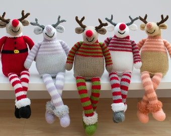 Knitted Toy Child Friendly Reindeer Cuddly Animal