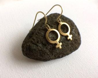Female Symbol Earrings, Women Symbol Earrings,  Gender Earrings, Venus Symbol, Nasty Woman Jewelry, Sex Sign, Girl Power, Womens Rights
