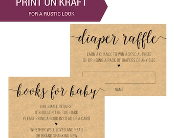 Printable Book Request Card | Baby Shower Diaper Raffle Card| Calligraphy Invitation Insert | Instant Download Baby Shower Printable OB14