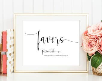 SALE Favors sign, Favors sign Printable, Favors Table Sign, Treats sign,  Please take one sign, Wedding Sign Printable, Instant Download