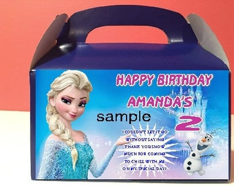 Qty 4 Favor Boxes, Frozen Party Candy Favor Goody Boxes