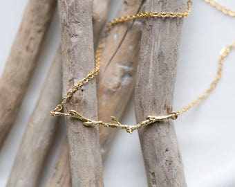 Organic Twig Necklace   Matte Gold Branch     Nature Inspired Jewelry