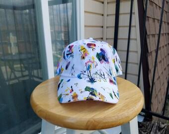 White Baseball Cap, Customized Hat, Dad Hat, Tumblr Hat, Splatter Paint Hat, Acrylic Paint Hat, Colorful Hat
