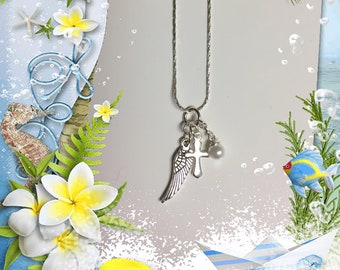 Angel Wing & Cross Necklace