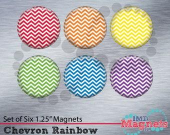 Personalized Chevron Magnets - SET OF 6 - Teacher Gift - Rainbow - Stocking Stuffer