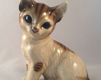 Vintage Cat Figurine with Olive Green Eyes and Stripes