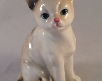 Small Vintage Cat Figurine with Stripes, Blue Eyes, and Pink Nose