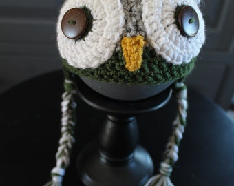 Harry Potter inspired Slytherin Baby Owl Hat