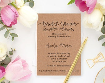 Wedding Shower Template Invitation. Rustic Calligraphy Bridal Shower.Flower Couples Shower Printable- Ask for PRINTING and SHIPPING services