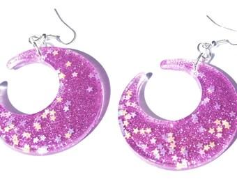 Purple moon earrings kawaii