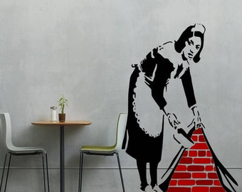 Banksy Maid Hiding The Mess vinyl wall art