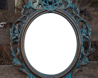 Baroque Mirror, Hollywood Regency Mirror, Ornate Mirror, Patina Mirror, Large Wall Mirror, Shabby Chic Mirror,  Bathroom Mirror, Nursery
