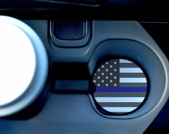 Thin Blue Line Car Coasters/American Car Coasters/Sandstone Car Coasters/Blue lives matter/Police car coaster/Hero coasters/Thin blue line