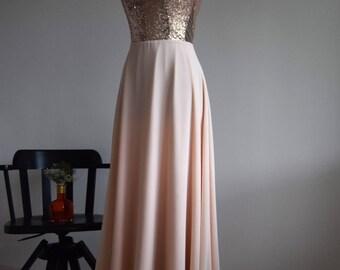 Sequin Bridesmaid Dress, Handmade, Champagne, Chiffon, Sleeveless Full Length Sequin Evening Prom Dress, Ballgown Dress, Evening Dress