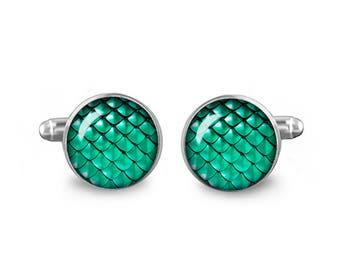 Green Dragon Scales Cuff Links 16mm Cufflinks Gift for Men Groomsmen Novelty Cuff links Fandom Jewelry