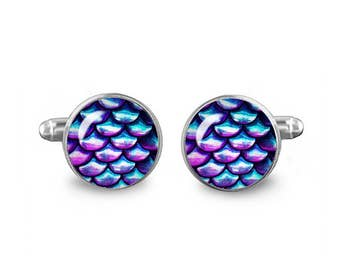 Iridescent Scales Cuff Links Mermaid Scales Cuff Links 16mm Cufflinks Gift for Men Groomsmen Fandom Jewelry