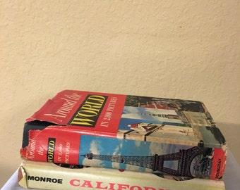 2 vintage travel books, man cave decor, photo prop, desk decor, office decor, staging,