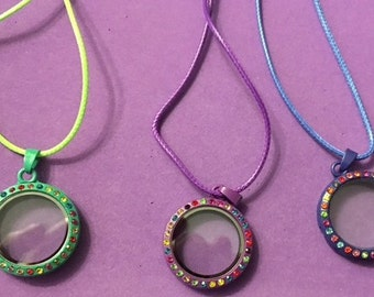 """Cute New Floating Charm Necklaces with Colored Rhinestone and an 18"""" Cord for All Ages"""