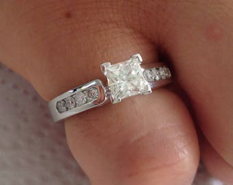 Certified 1.50 CT Princess cut & Round cut Diamond engagement Ring 14k white gold  hand made