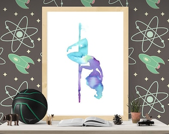 Pole dancer in watercolors. Printable wall decoration art inspired by pole dance fitness. size A3 29,7x42cm (11.69 x 16.53 inches)