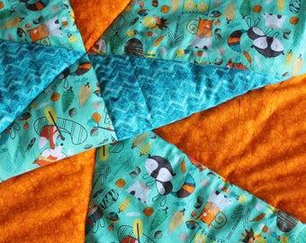 Bright Friendly Woodland Quilt Orange Blue