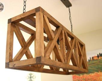 Crate Industrial Chandelier - Urban Pallet Rustic Light Fixture- Barn Ceiling Light Fixture - 3X
